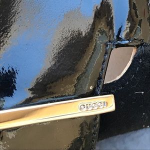Gucci black suede w/patent toe 3 inch heels